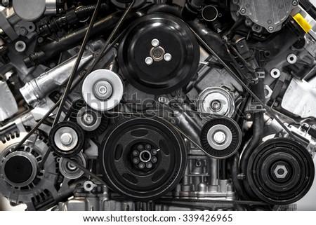 Detail photo of a clean car engine #339426965