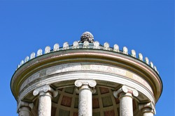 Detail roof top columns and the ceiling mosaics of the famous temple Monopteros in the English Garden and Munich town's landmark before the restoration in 2016  close up