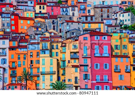 Detail scenic view of colorful houses in Provence village Menton, France