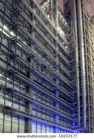 Detail section of the Lloyds Building in the City of London at Night