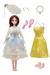 Detail shot of collector's doll in blue and white lace dress and bolero. Brown-haired hinged doll comes with yellow dress with heart design, white hat, pearl necklace, earrings, brush, mirror, shoes.