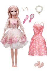 Detail shot of collector's doll in pink dress with full skirt and floral embroidery. Pink-haired hinged doll comes with summer printed dress, pearl necklace, earrings, brush, mirror, shoes.