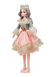 Detail shot of collector's hinged doll in crown, shoes, gorgeous princess dress with lace trimming and floral embroidery. Blonde doll in pearl necklace and earrings is located on white background.