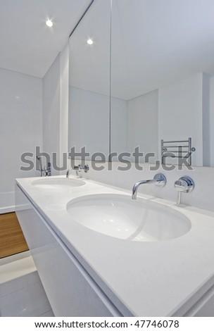 detail shot of double hand wash basin