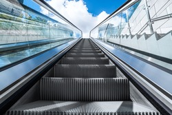 detail shot of escalator in modern buildings or subway station.