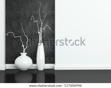 Detail shot of modern black and white living room furniture. Interior design.