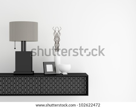 Detail shot of modern living room furniture. Interior design. - stock photo