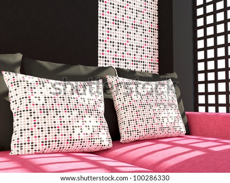 Room furniture interior design pink living room couch with pillows