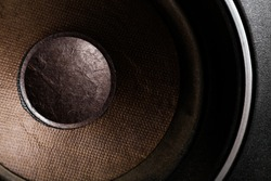 Detail shot of some old round speakers.
