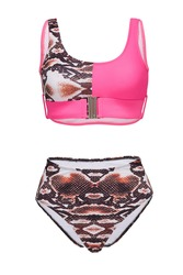 Detail shot of two-piece swimsuit with snake design composed of bra with metal buckle and high-waisted panties. Stylish swimming suit is isolated on the white background.