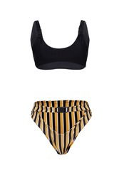 Detail shot of two-piece swimsuit with snap buckles composed of black bra and striped high-waisted panties with false belt. Stylish swimming suit is isolated on the white background.