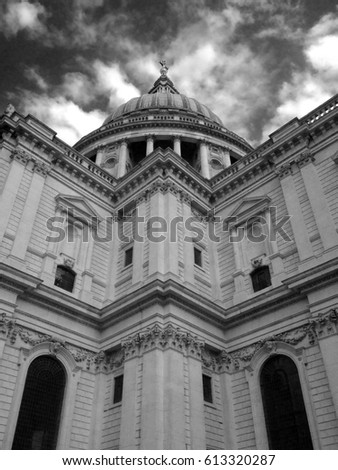 Shutterstock Detail unique angle of St Paul's Cathedral London by Christopher Wren. St Paul's Cathedral in Black and white. Dramatic clouds. Looking up at cathedral's cupula.