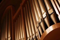 Detail veiw of pipe organ.