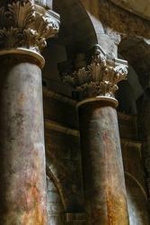 Detail view corinthian columns at hole sepulchre church, jerusalem