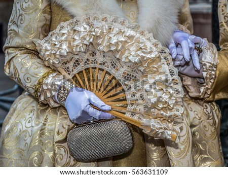 detail view of a epoque costume ...