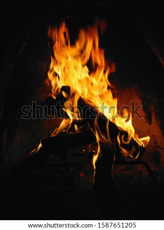 Detail view of a log fire in a fireplace