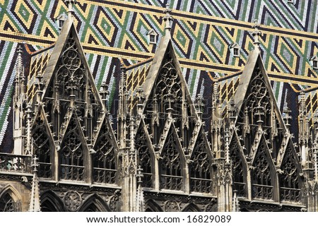 Detail view of spires and roof of the Stephansdom, Vienna.