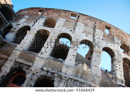 detail view of the Colosseum in Rome italy
