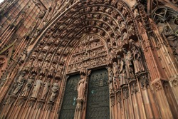 Detail view of the gate and sculptures of Cathédrale Notre Dame de Strasbourg, France