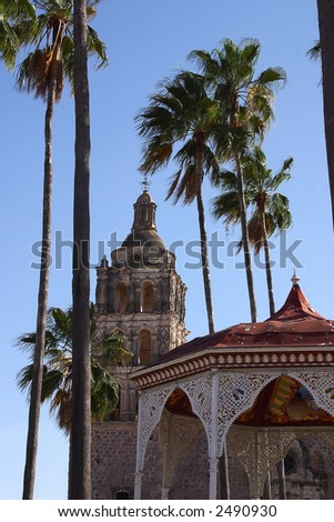 detail view of the kiosko and the tower of the church in the town of Alamos in the northern state of Sonora, Mexico, Latin America