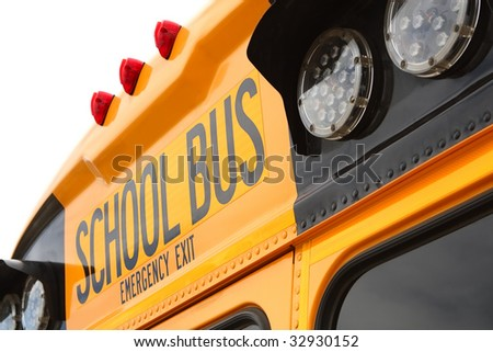 Detail view of the rear of a school bus
