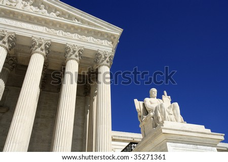 Detail view of the United States Supreme Court building.