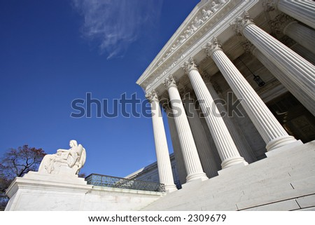 Detail view of the United States Supreme Court Building, Washington, DC.