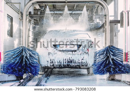detail view on car wash, car wash foam water, Automatic car wash in action #793083208