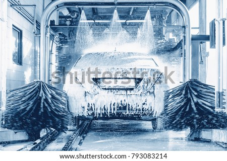 detail view on car wash, car wash foam water, Automatic car wash in action #793083214