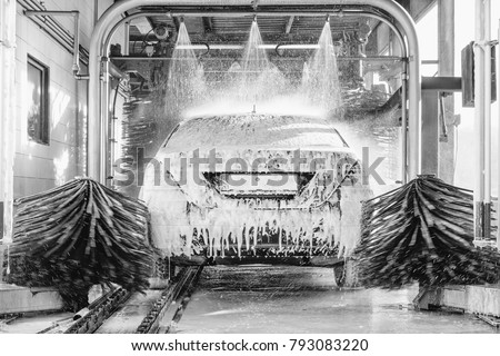 detail view on car wash, car wash foam water, Automatic car wash in action #793083220