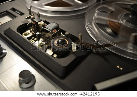 detail, vintage reel-to-reel recorder