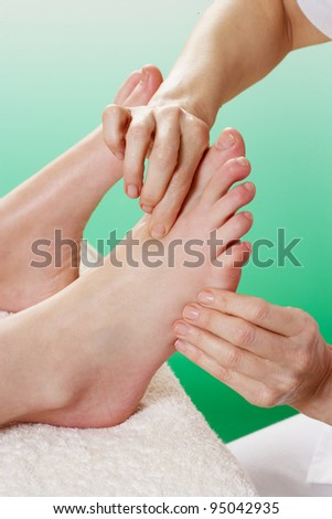 Detail woman having foot massage