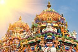 Detail Work In Gopuram, Hindu temple Kapaleeshwarar., Chennai, Tamil Nadu, India