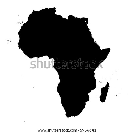 detailed Africa continent map. black and white, mercator projection.