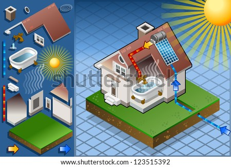 Detailed animation of a Isometric solar panel in production of hot water from the sun
