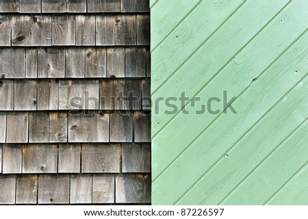 detailed architectural Rustic Clapboard seaside home with green