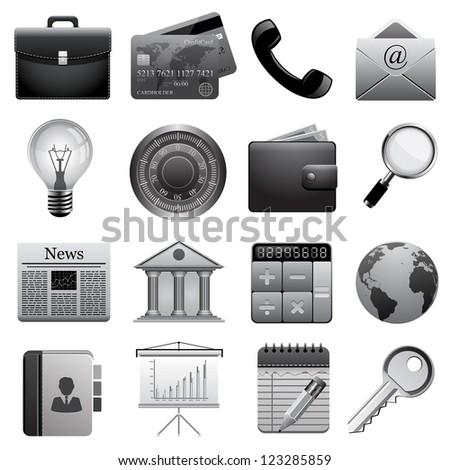 Detailed business icons.