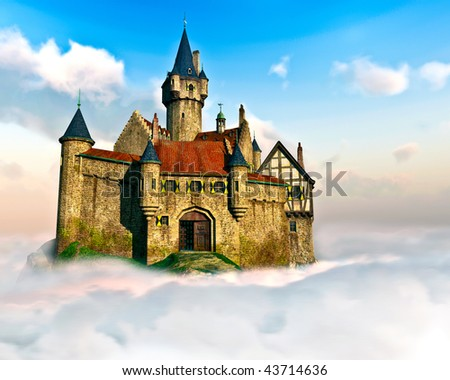 Detailed Castle sits high above the clouds. Surrounded by rolling Cumulus clouds below and rich blue sky with swirling Cirrus Clouds. Original Illustration.