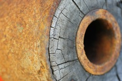 detailed close-up of an old wagon wheel of a carriage