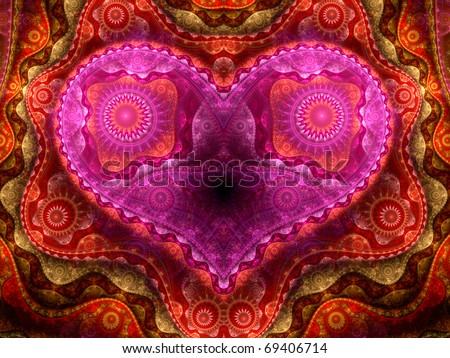 Detailed colorful fractal heart, Valentine's day motive