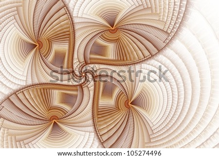 Detailed copper, brown and mauve fan / flower on white background