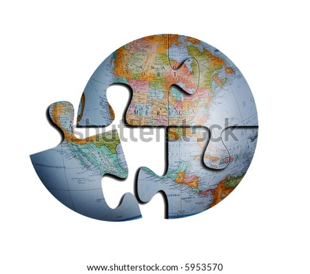 Detailed 3d Earth Puzzle, See Vector In My Portfolio