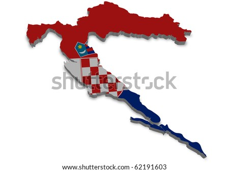 detailed 3d map of croatia with flag - stock photo