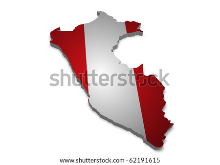 detailed 3d map of peru with flag
