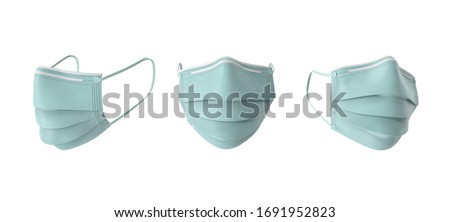 Detailed 3d render medical mask with 3 angles in isolated background