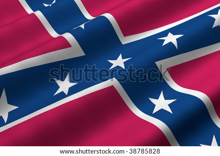 Detailed 3d rendering closeup of the Confederate flag.  Flag has a detailed realistic fabric texture. - stock photo