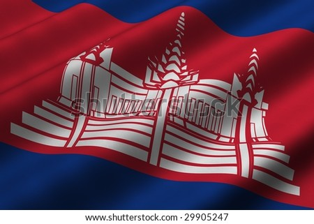 Detailed 3d rendering closeup of the flag of Cambodia.  Flag has a detailed realistic fabric texture.