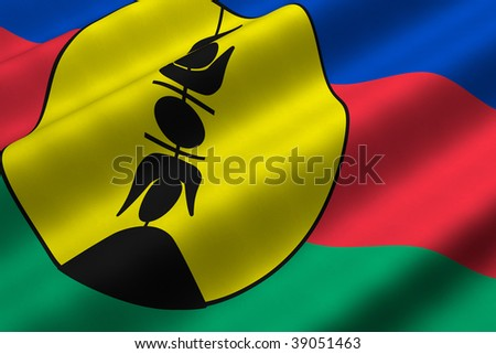 Detailed 3d rendering closeup of the flag of New Caledonia.  Flag has a detailed realistic fabric texture.