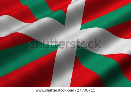 Detailed 3d rendering closeup of the flag of the Basque Country (Pais Vasco or Pays Basque).  Flag has a detailed realistic fabric texture. - stock photo