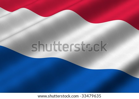 Detailed 3d rendering closeup of the flag of The Netherlands.  Flag has a detailed realistic fabric texture.